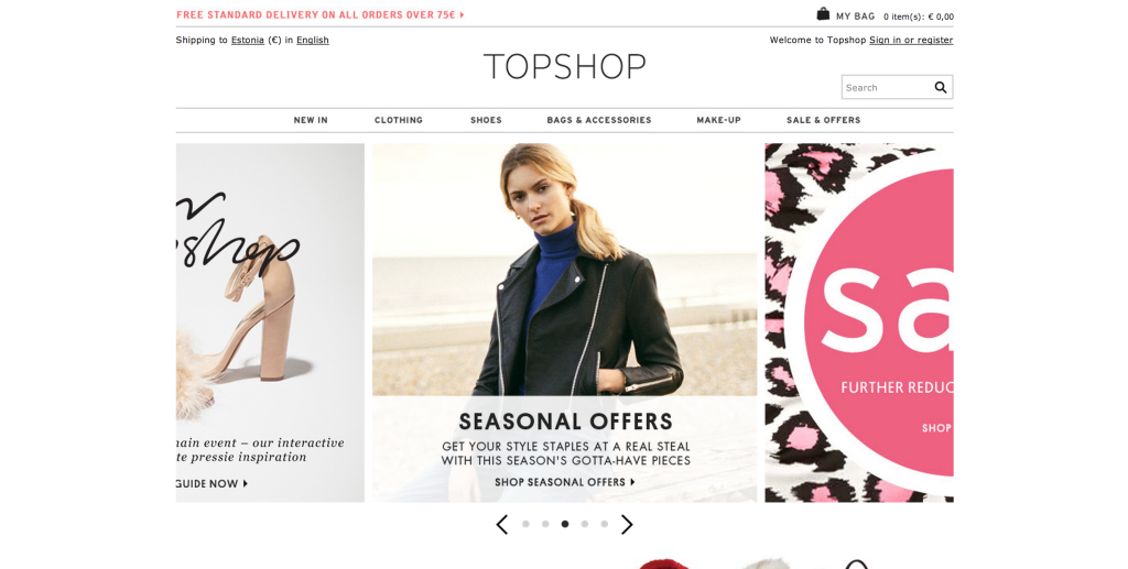 topshop screen